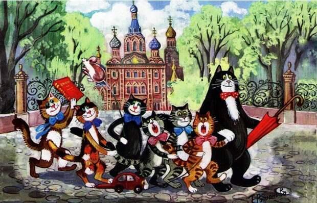 Забавные коты гулёны и дебоширы на городских пейзажах художницы из Петербурга