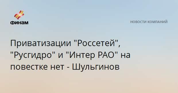 """Приватизации """"Россетей"""", """"Русгидро"""" и """"Интер РАО"""" на повестке нет - Шульгинов"""