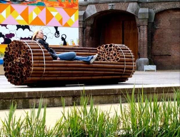 Скамья из бамбука