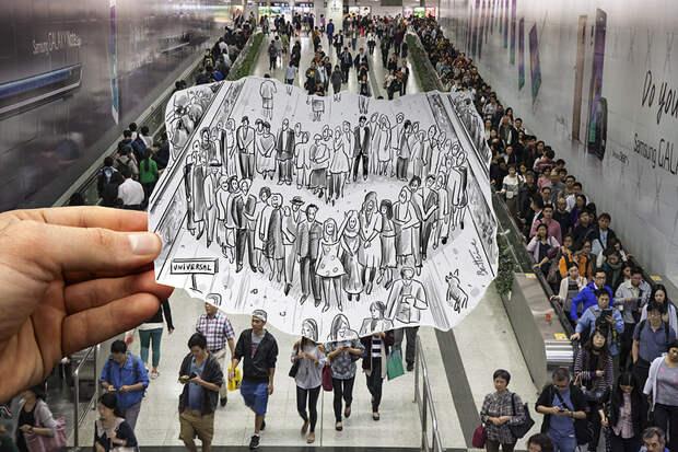 Pencil Vs Camera (Study in Hong Kong Subway)