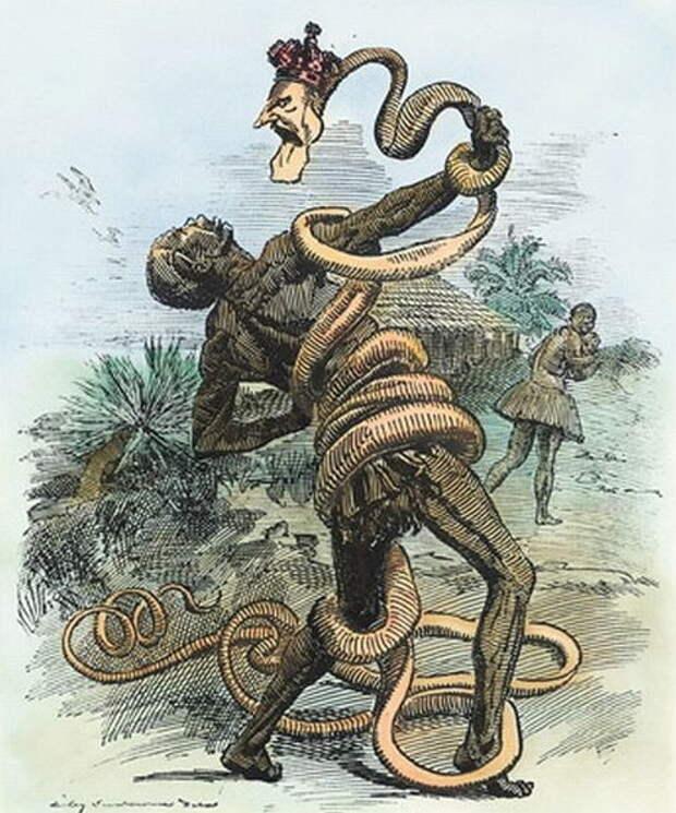 Леопольд II в деле. Карикатура XIX в. на порядки в свободном Конго