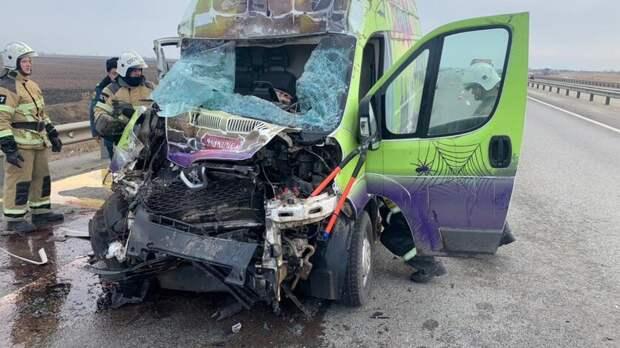 Водитель микроавтобуса врезался вКамАЗ вРостовской области