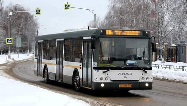 В Подольске рейсовый автобус №520 не смог продолжить движение из‑за гололеда