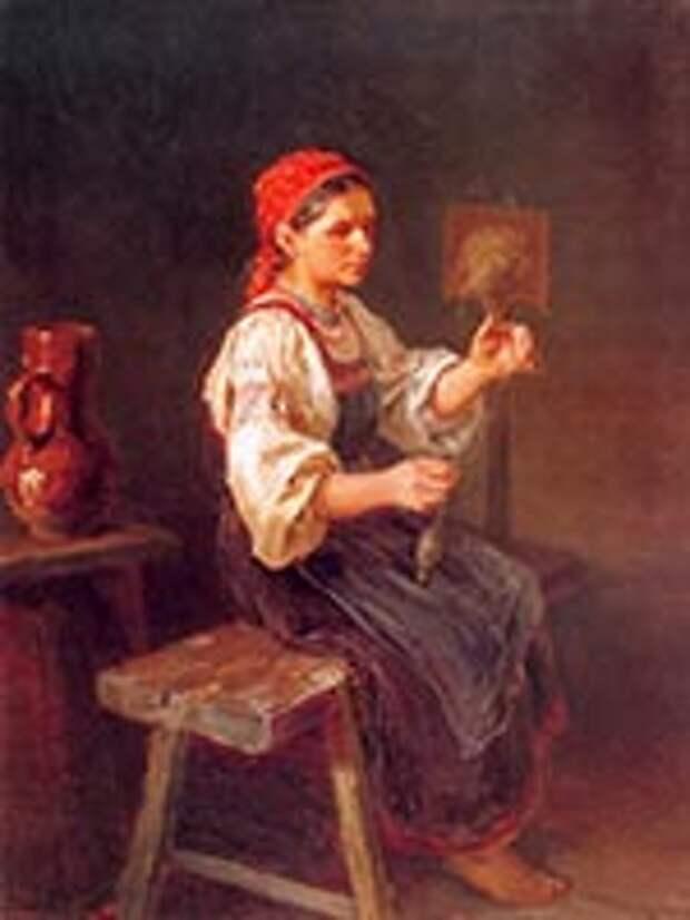 Пряха. И.М. Прянишников, 1878 г.