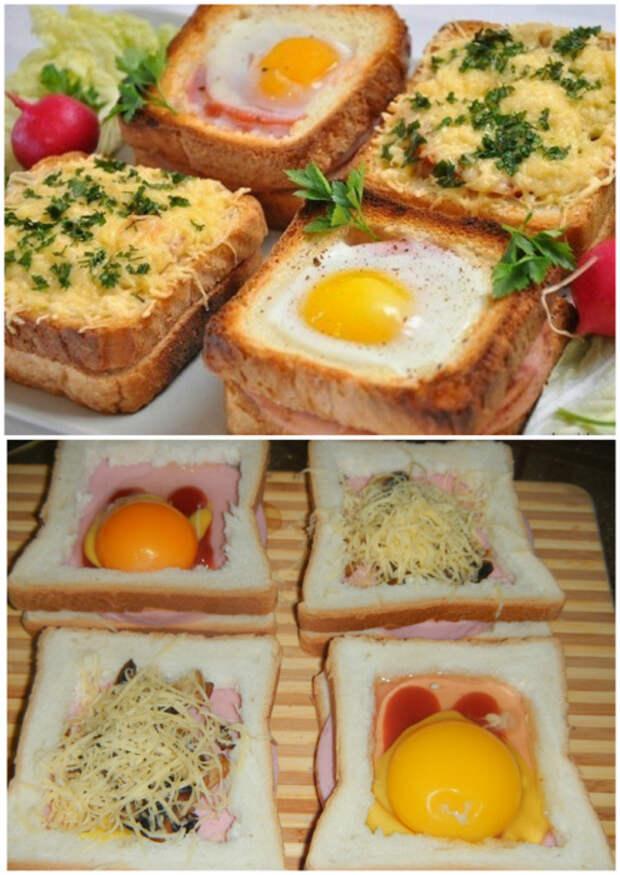 Бутерброды с яйцом и грибами, запеченные в духовке.