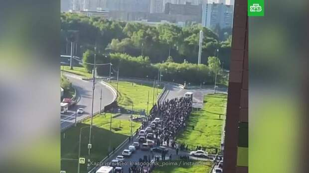 Толпа мигрантов перекрыла дорогу в Подмосковье