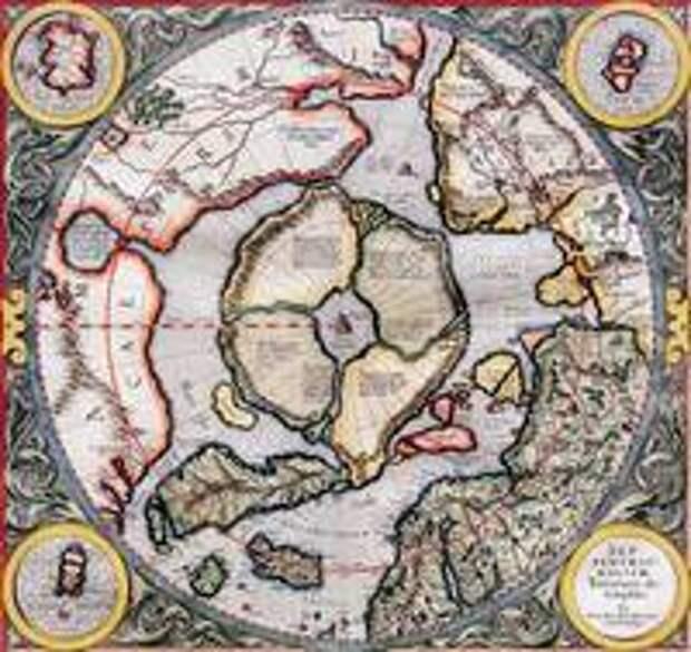 Карта Меркатора с изображением Гипербореи.