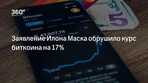 Заявление Илона Маска обрушило курс биткоина на 17%