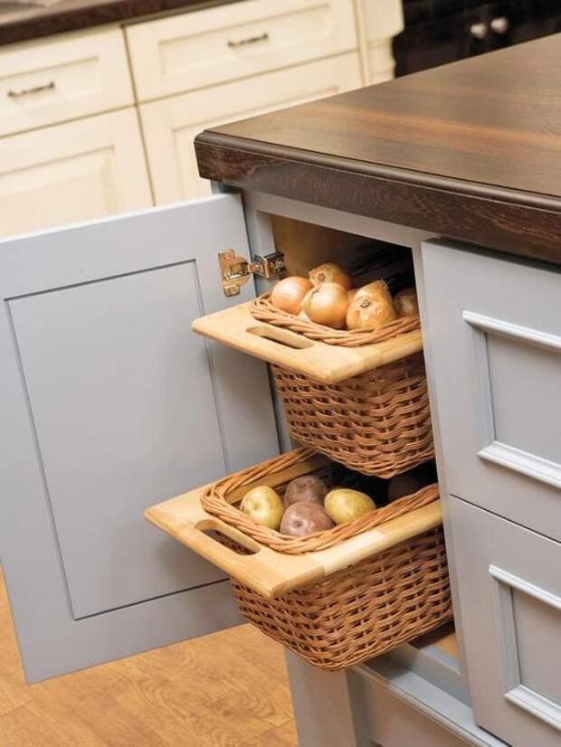 Спрятать овощи можно в нижнем кухонном шкафчике