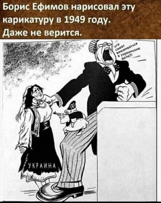 Борис Ефимов. Карикатура, 1949 год