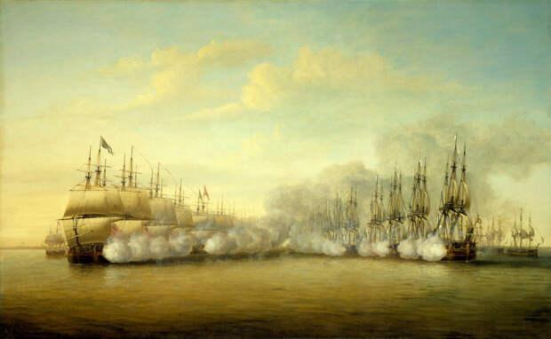 Английский флот против французского в ходе Войны за независимость. Художник: Dominic Serres