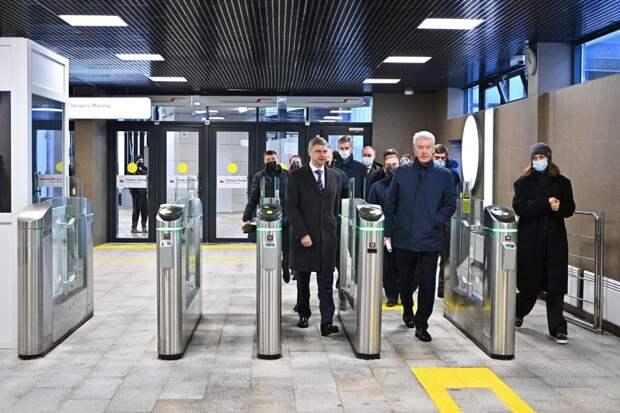Сергей Собянин на открытии новой станции МЦД-3 / Фото: stroi.mos.ru