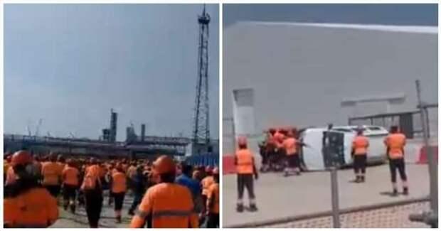 Оставшиеся без зарплаты рабочие устроили погром в офисе подрядчика «Газпрома» (1 фото)