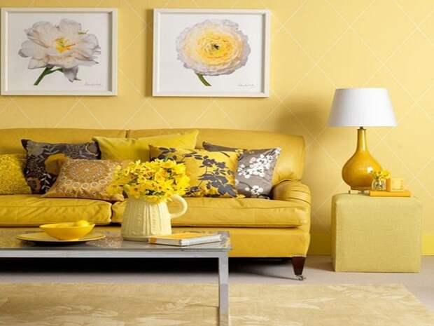Красивое и солнечное настроение в этой комнате подарит желтый интерьер.