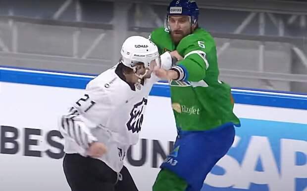 Уложил с одного мощного удара. Яркая драка хоккейных гигантов — Евенко быстро расправился с Семеновым: видео