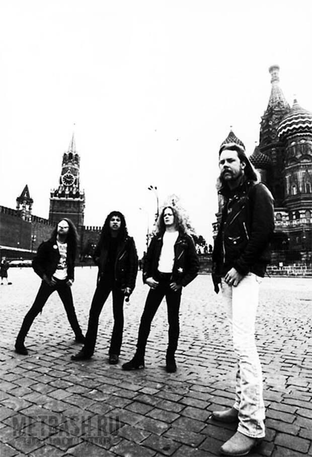 Metallica гуляет по Москве перед концертом в Тушино 1991 год