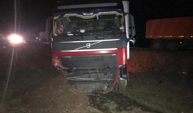 Под Волгоградом фура смяла три иномарки на светофоре: пострадали пять человек