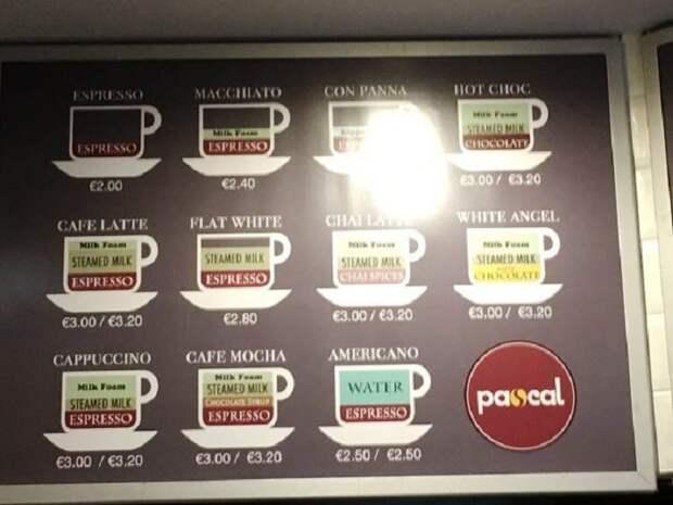 Точный состав кофе и его крепость можно узнать из схемы установленной прямо в кафетерии.   Фото: fishki.net.