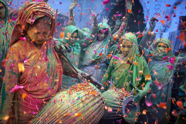 Праздник красок Холи, Вриндаван, Индия красота, путешествия, фото