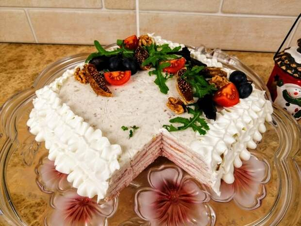Закусочный торт на новогодний стол