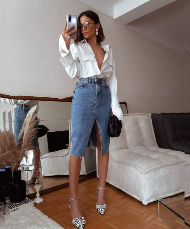 14 шикарных примеров с чем носить джинсовую юбку и выглядеть великолепно