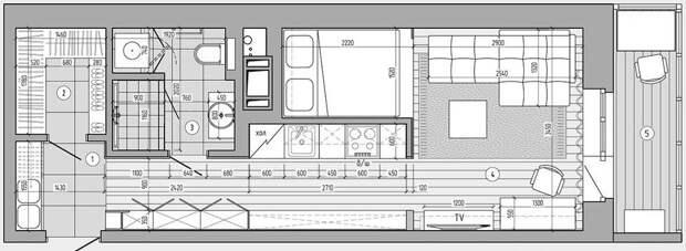 Кухня в коридоре. На 30 кв.м. студии уместили всё, что нужно. Получилось не тесно и комфортно