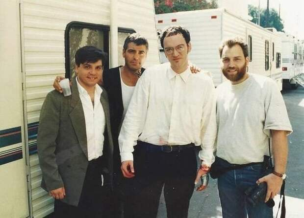Джордж Клуни и Квентин Тарантино на съёмках фильма «От заката до рассвета», 1995 год