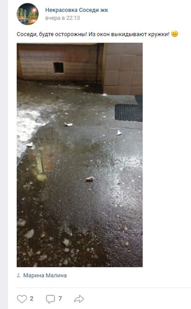 В Некрасовке кружку выбросили из окна квартиры в прохожих