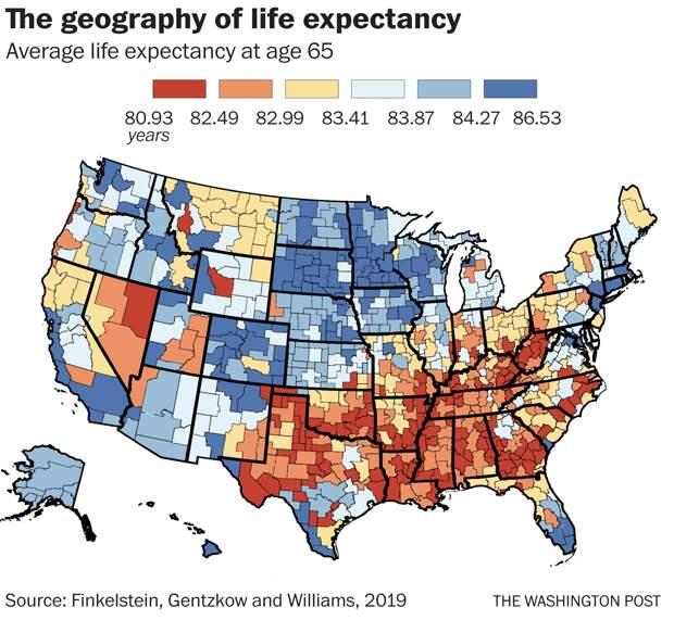 Карта влияния места жительства на продолжительность жизни