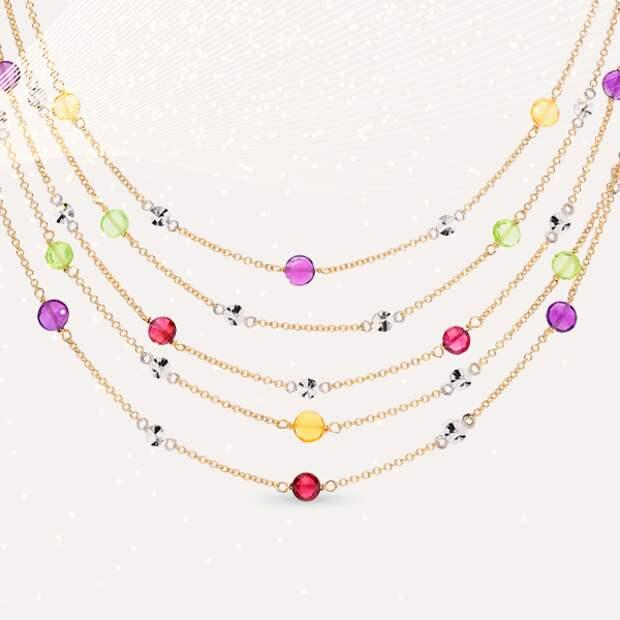 Ожерелье Daniela Coaro, желтое и белое золото, аметисты, родолиты, цитрины