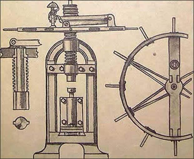 Пресс для набивки ракет, применявшийся в ракетном производстве в  начале XIX века