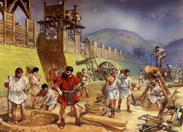 Обустройство римского лагеря. Современная иллюстрация.