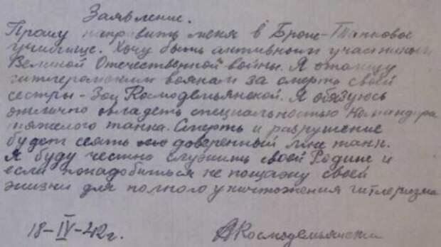 Заявление Александра с просьбой отправить его воевать