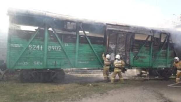 В Шымкенте на железной дороге загорелся вагон