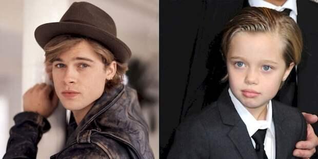 18. Брэд Питт (слева) и его сын Джон Джоли-Питт (справа). Но губы у него мамины! отцы и дети, прикол, фото