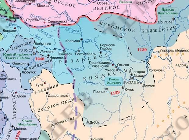 Рязанская земля в конце XIII - первой половине XIV вв. взаимоотношения с Ордой и Москвой.