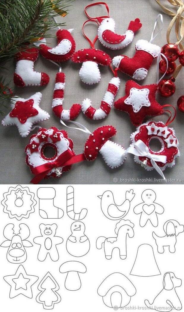 Шаблоны ёлочных игрушек из фетра
