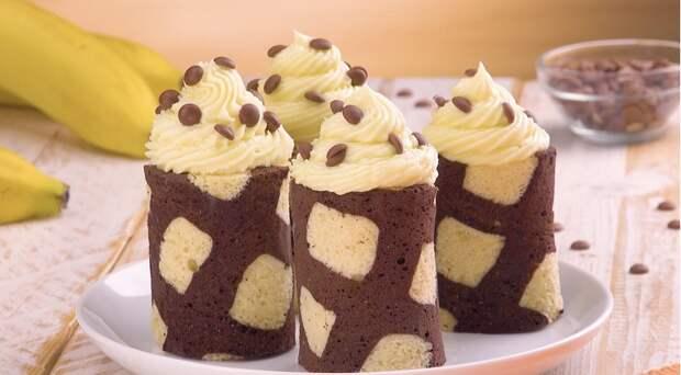 Двухцветные рулетики с бананами: очаровательный десерт с нежным кремом