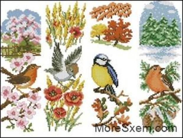 Сезонные панели с птичками