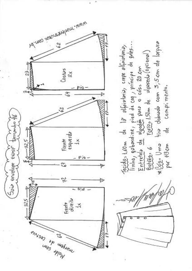 Выкройки юбки на пуговицах