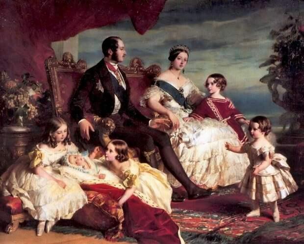 Картина «Семья Королевы Виктории» 1846 года. Художник Франц Ксавьер Винтерхальтер. Рядом с Королевой принц Альберт и пятеро их детей.