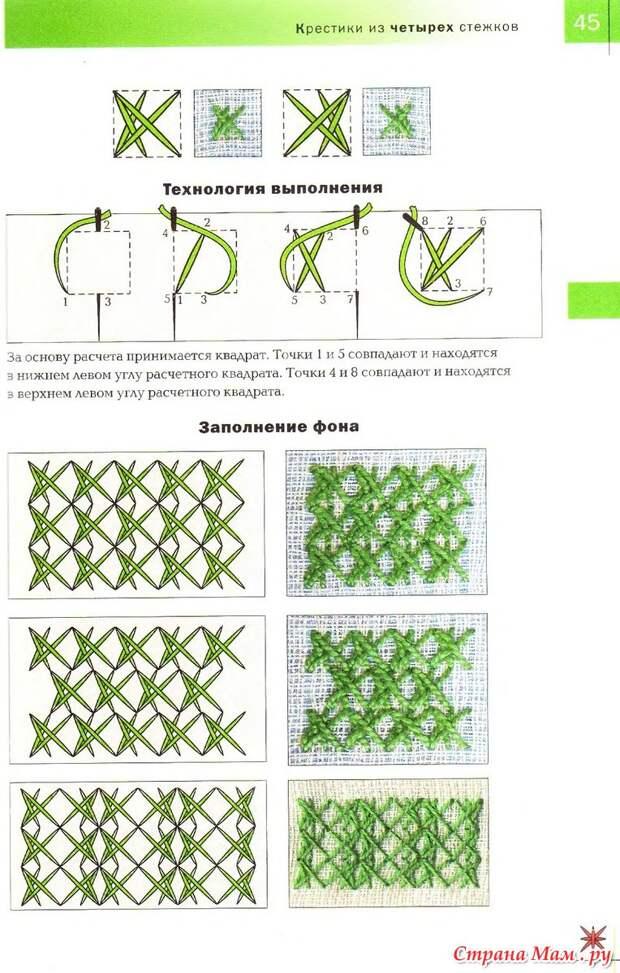ВЫШИВАЙКА. Вышивка 100 видами крестика. Крестики из четырёх стежков.
