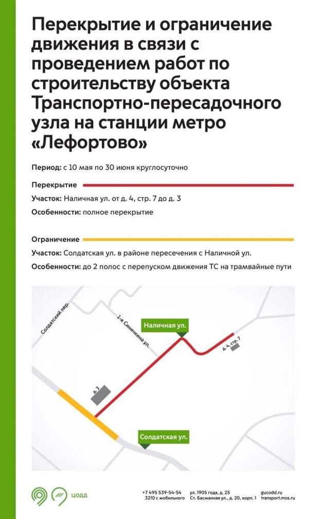 Рядом со станцией метро «Лефортово» ограничат движение до 30 июня
