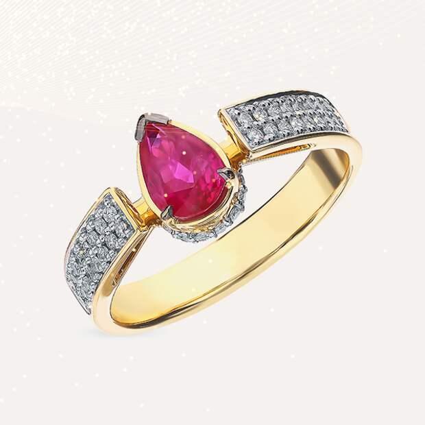 Кольцо JF Carat, желтое золото, рубин, бриллианты