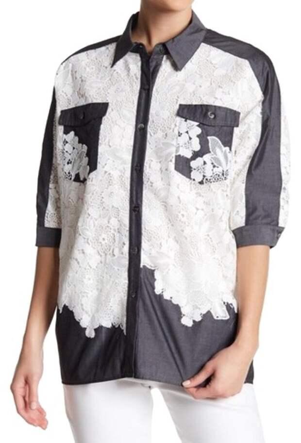 Миллитари блузка рубашка с кружевом