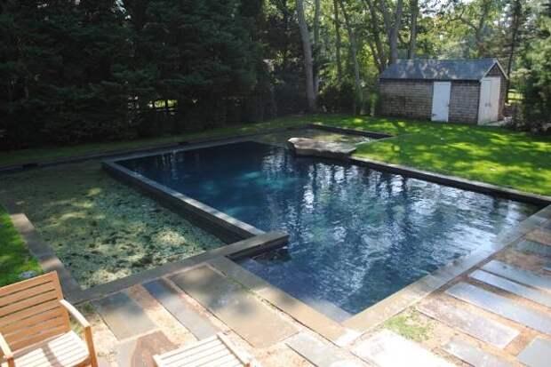 Фото бассейнов во дворе частных домов - бетонный бассейн
