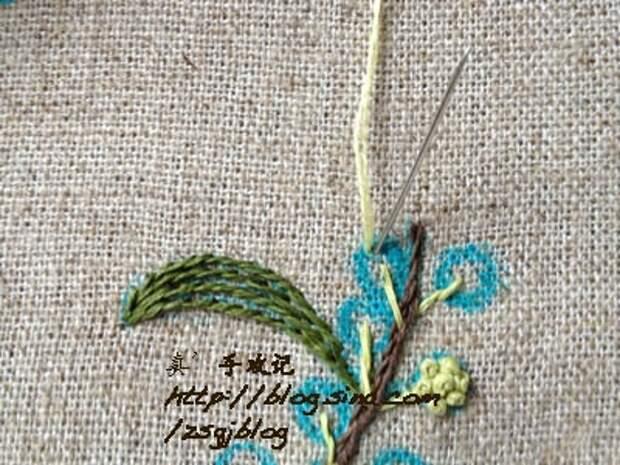 Фото мастер-класс по вышивке веточки мимозы (5) (400x300, 154Kb)