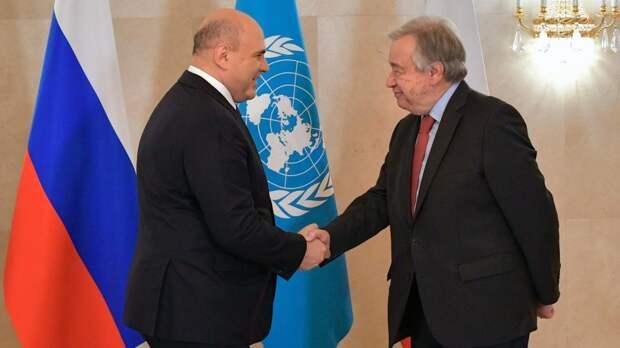 Мишустин призвал генсека ООН противостоять односторонним санкциям