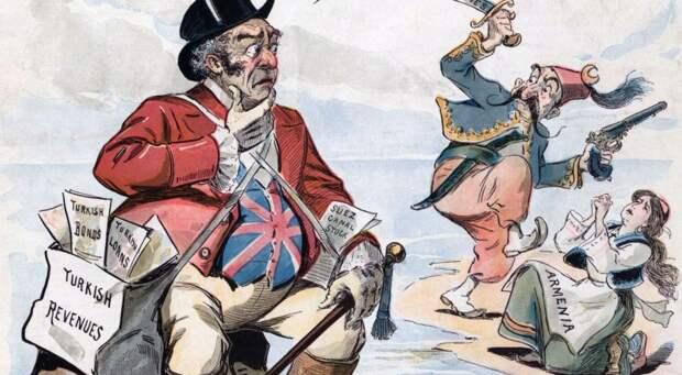 Великобритания, Турция и Армения в карикатуре 19 века