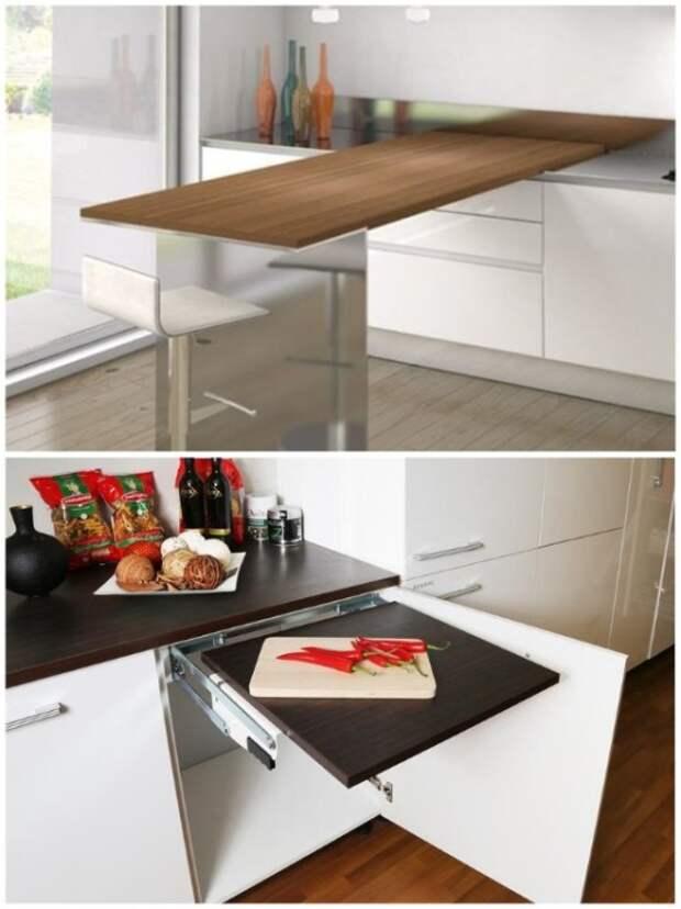 Выдвижные столешницы и разделочные доски увеличат рабочую зону, когда понадобится. | Фото: doinab.blogspot.com.
